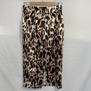 MISSGUIDED brown leopard print satin skirt